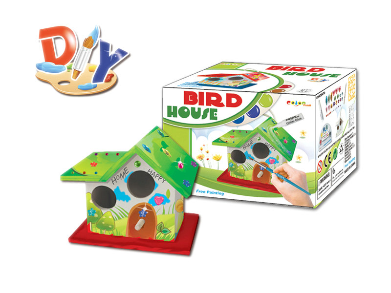 DIY Watercolor toy wooden bird house toy educational toy