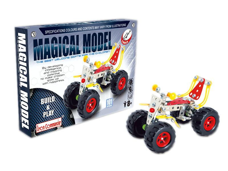 Diecast building block DIY beach motorcycle block intelligent toy