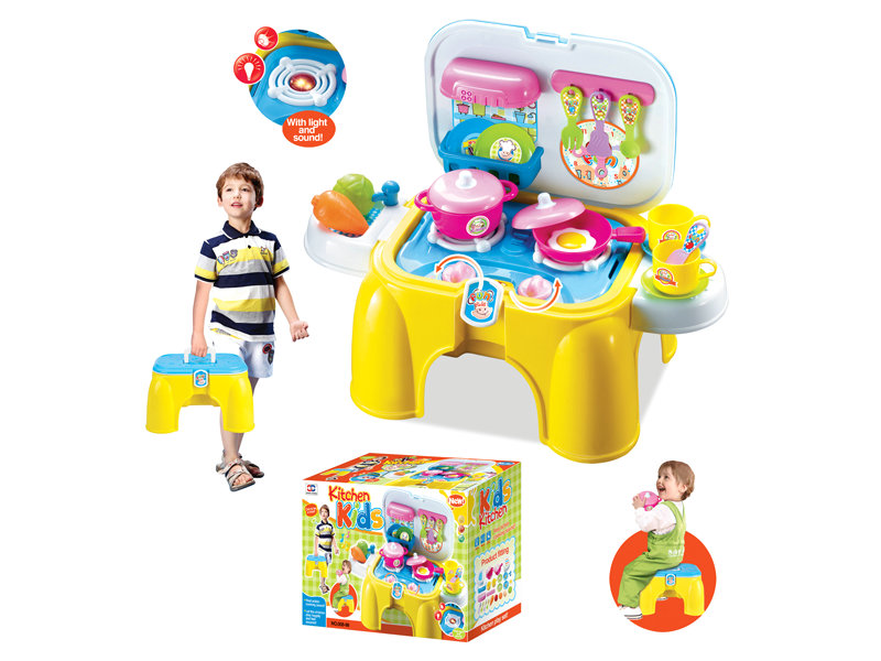 Plastic kitchen toy portable tableware desk pretend toy