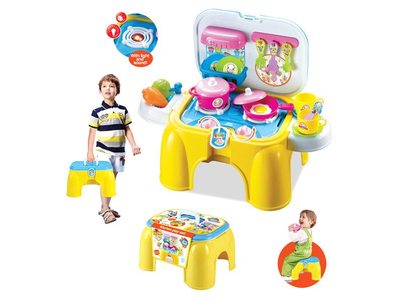 Plastic kitchen toy portable tableware desk pretend toy
