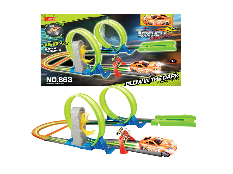 Racing track car railway car vehicle toy