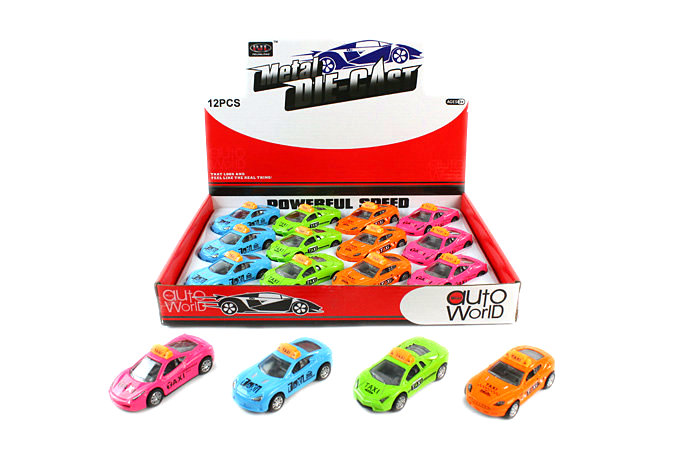 Die-cast taxi pull back car vehicle toys